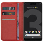 Leather Wallet Case & Card Holder Pouch for Google Pixel 3 XL - Red